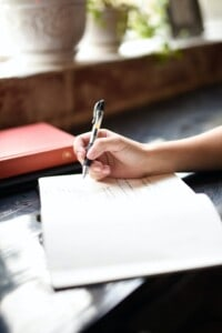 Contemporary Psychotherapy handwriting in journal